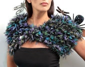 RESERVED - Knitted Black, Blue, Purple, Green Wrap / Capelet - Faux Fur Peacock Scarflette - PEACOCK BLACK