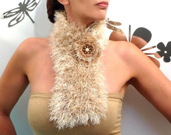 Knit Fuzzy Fun Fur Scarf - Chunky Neckwarmer - Honey Gold Beige - Super Soft - HONEY