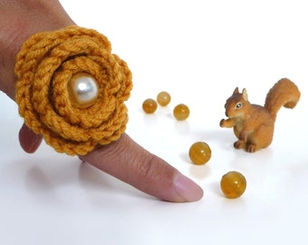 Adjustable Ring - Crochet Mustard Yellow / Amber Flower - Handmade Jewelry - WINTER ROSE