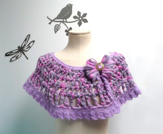 Crochet Capelet / Wrap / Scarf - Pink, Lilac and Grey - Romantic Lace Shawl with Yarn Bow - ANGEL