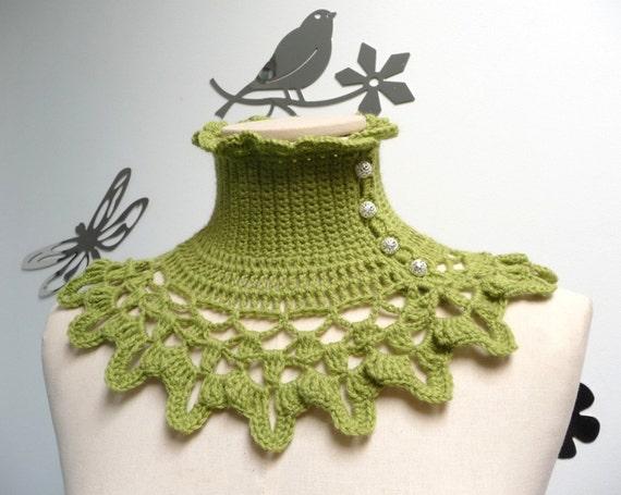 Lime Green Crochet Neckwarmer / Collar with turtleneck, ruffle neckline and lace collar - victorian, bohemian style - NINU'