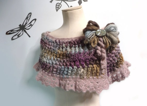 Crocheted Purple, Olive, Sand and Dusty Blue Wrap, Capelet - Romantic Lace Scarflette with yarn bow - ANGEL