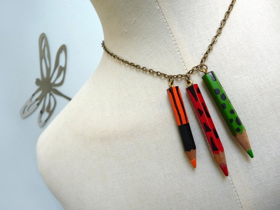 Color Pencil Necklace with brass chain - Red Orange Green Crayons