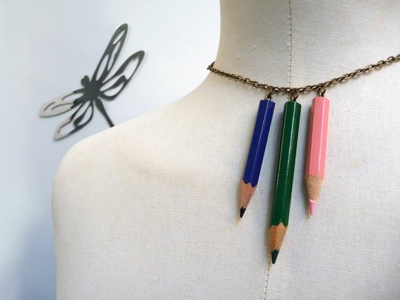 Color Pencil Necklace with brass chain - Pink Green Blue Crayons