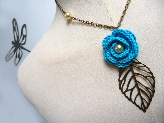 RESERVED - Crochet Flower Necklace with Brass Chain and Leaf - Turquoise Rose