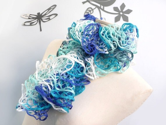 Ruffle Scarf Hand Knitted - Blue Turquoise White and Grey Bohemian Scarflette - Romantic Neckwarmer