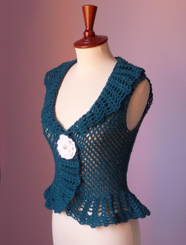 Crochet Flower Shrug Pattern : Crochet Vest Bolero Gilet Shrug Green Sleeveless Sweater