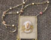 Southwest Look Picture Jasper Beaded Mini Bag Purse Necklace ID Holder Amulet Bag Treasure Keeper Desert Sands