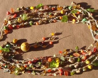 Love AutumnTurquoise Gemstone Bead Crochet Necklace, Czech Glass Leaves, Chinese Jade Closure