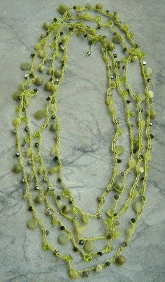 Unique Style Olive Jade Bead Crochet Necklace is Versatile-Wear it More than One Way