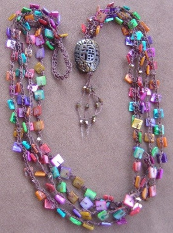 Bead Crochet Necklace in Jewel Tone Shell Beads Carved Bone Bead Fastener