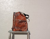 Tote Bag. Vintage German Decoration Fabric. Reddish Brown Abstract Art. Market Bag with Black Handles and Brown Buttons.
