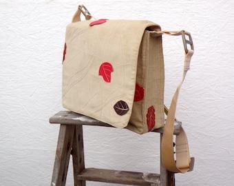 Messenger Bag. Vintage German Folk Costume Fabric. Beige Corduroy Shoulderbag with Leaves, Red and Brown. Adjustable Shoulder Strap.