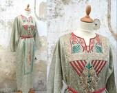 RESERVERD reserverd reserverd 1980 Ethnic dress embroidered Egyptian long sateen caftan dress size S/M/L