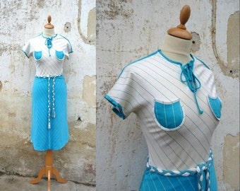 1970 vintage dress striped middle lenght jersey size S