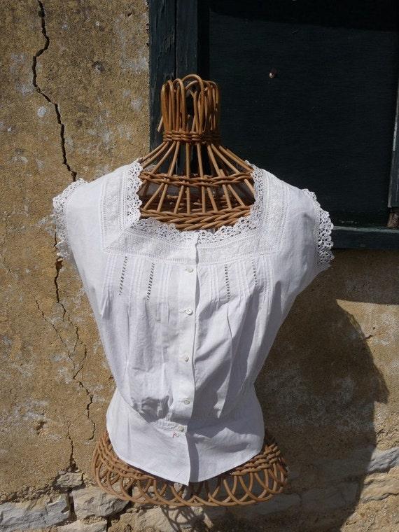 Antique victorian cotton lace cache corset blouse french lingerie size XS