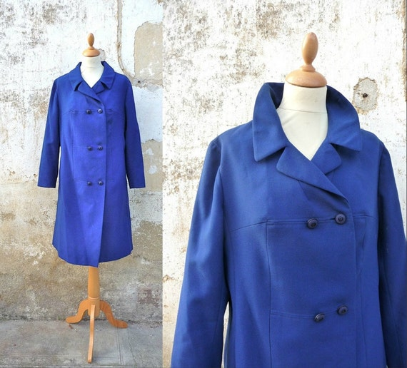 Vintage 1960 /60s mod coat double breasted navy blue size M