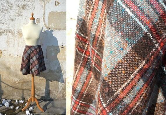 1960 Mod mini plaid skirt flared skirt 60 size M