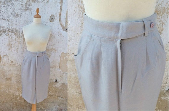 Vintage 1980 pencil skirt soft grey wool size S
