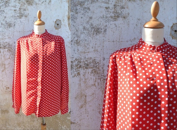 RESERVERD reserverd reserverd   Vintage 1980 CARVEN blouse polka dots red size M /L