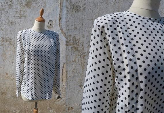 Vintage 1980 black & white polka dots CARVEN couture blouse size