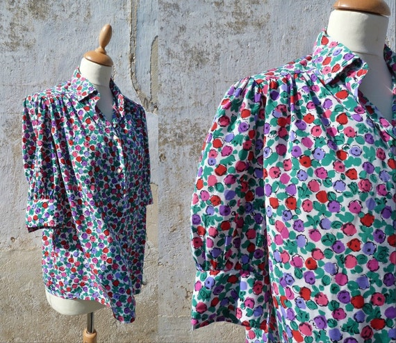 1980 French couture Carven blouse floral size M/L