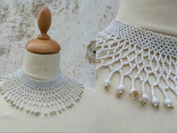 1970 Ethnic seed beads white bib necklace folk hippie beadwork
