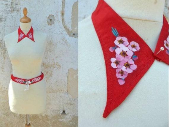 Vintage 1930 collar & belt set handpainted floral pattern