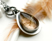 Gold Rush Necklace- Handcrafted in Sterling Silver and Rutilated Quartz- Silver Metalwork
