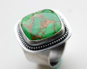 SALE - 25% OFF - Stunning Adjustable Green Turquoise Cocktail Ring....Handmade in Sterling Silver...Large Chunky Ring