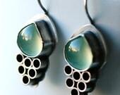 WEEKEND SALE Unique Handmade Earrings with Chalcedony.. Artisan Metalwork...Metalsmith Earrings