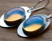 White Opal Earrings..Handcrafted Silver Metalwork..Trendy Designer Earrings