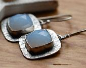 One of a Kind Cornflower Blue Earrings in Sterling Silver...Modern Artisan Earrings...