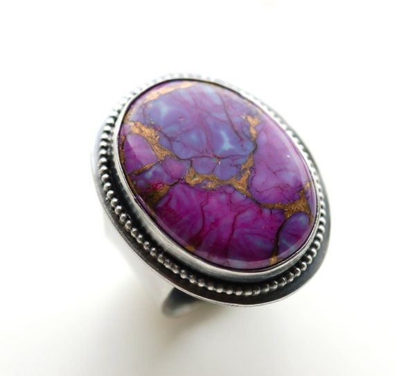 SALE 25% OFF - Beautiful Adjustable Purple Copper Turquoise Cocktail Ring....Handmade in Sterling...Large Chunky Ring