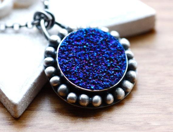 Modern Cobalt Blue Titanium Druzy Necklace...Handmade in Sterling Silver..Artisan...Eyecatching Necklace