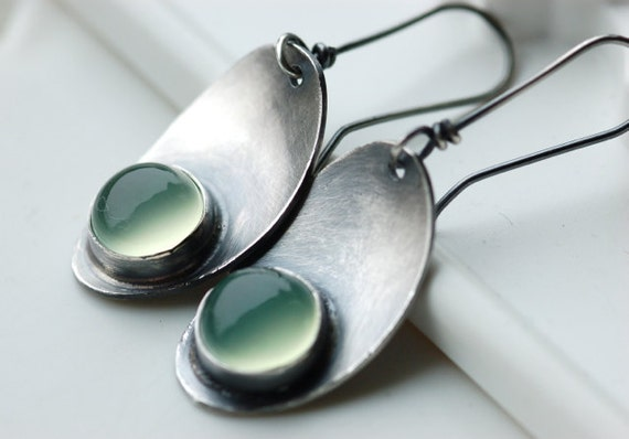 Luminous Earrings..Handmade..Sterling Silver Metalwork..Green Chalcedony Stone...Leaf..Modern Classy Everyday