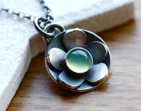 Little Blossom Pendant Necklace in Silver and Green Chalcedony Metalwork Under 50