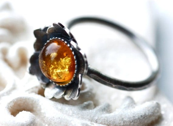 Rustic Handmade Flower Ring in Oxidized Sterling Silver Botanical Metalwork in Amber