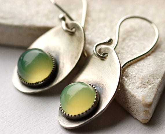 Luminous Earrings Handmade Sterling Silver Metalwork..Green Chalcedony Stone Leaf Modern Classy Everyday