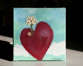SALE, Mixed Media Original, 8x8, Happy Heart