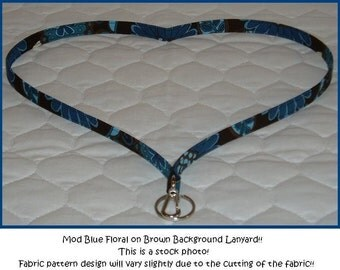 MOD FLORAL blue / brown boutique fabric lanyard for id badge
