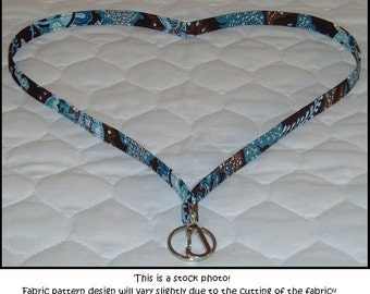 Lanyard made with VERA BRADELY java blue fabric