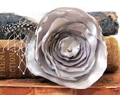 Slate Gray Large Fabric Flower Brooch Hair Fascinator