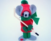 Hockey Mouse Christmas Ornament felt mice gift for collectors and animal lovers by Warmth