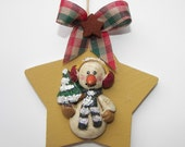 """Snowman Christmas Ornament-Wooden 3"""" Star with Resin Sparkle Snowman with Tree by Warmth"""