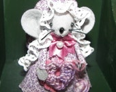 Crochet Mouse Ornament- Cecelia sweet felt mice gift for Animal Lovers and Collectors from Warmth