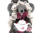 Felt Mouse Tea Lover Tillie Collectible Mice Gift for Animal Lovers Victorian Dress