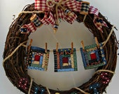 Quilt Grapevine Wreath for Quilt Lovers and Country Enthusiasts Handmade by Warmth