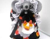Halloween Felt Mouse-CandyCorn Maker-Orange Black Ornament Decoration
