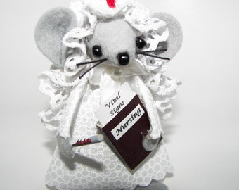 Felt Mice Nurse  Medical Professional Gray Miniature Mouse Gift for Nursing Student Graduation Gift by Warmth